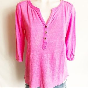 Lilly Pulitzer bright pink linen top